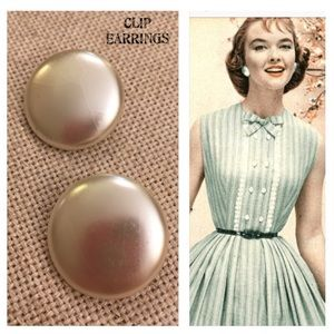 Vintage Large Round Pearl Button Earrings